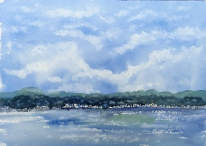 "Portland across the bay14"" x 20"" - Original $250"