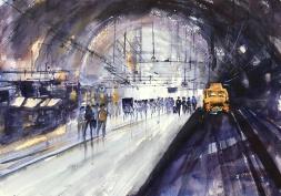 "Alvaro Style Antwerp Train Station14"" x 20""- Original $250"