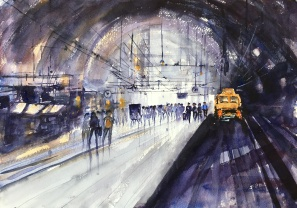 "Alvaro Style Antwerp Train Station14"" x 20""- Original $250"