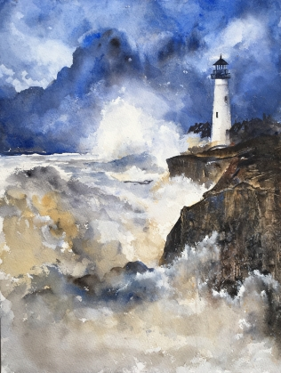 "Awestruck at the Portland Headlight16"" x 12"" - Original $350"