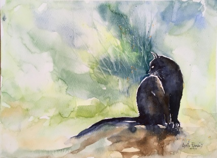 """Black Cat14"""" x 11""""- Original Sold"""