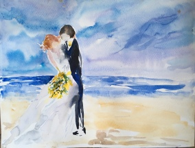"Brian's Wedding14"" x 20""- Original Sold"