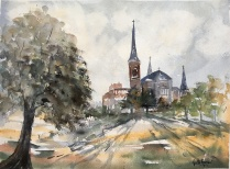 """The Cathedral of Immaculate Conception16"""" x 11"""" - Original $250"""