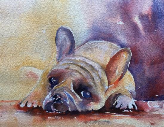 "Sad Doggy 10"" x 13"" – Original $100"