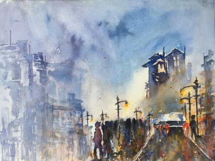 "Fog in the City12"" x 16"" - Original $300"
