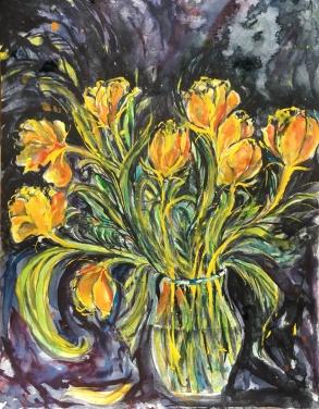"Crazy Yellow Tulips14"" x 11""- Original $140"