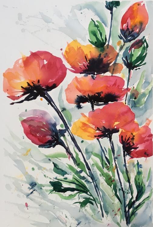 "Expressive Poppies21"" x 14"" - Original $250"
