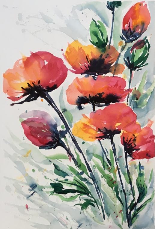 "Expressive Poppies21"" x 14"" - Original - Sold"