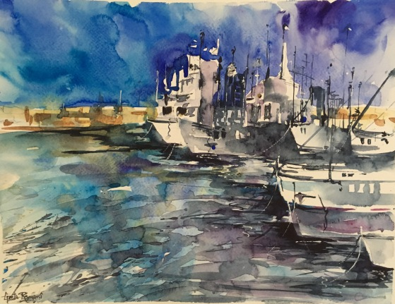 "Call Harbour Boats 14"" x 11"" – Original $250"