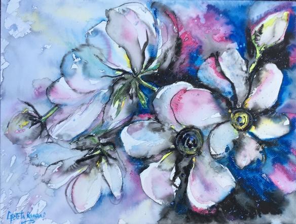 """Lovely, lovely magnolia tree!10"""" x 14"""" - Original $200"""