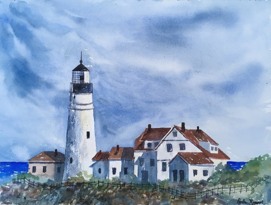 "Light & Shadow, Portland Headlight16"" x 12"" - Original $300"