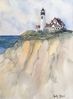 "Lighthouse for Jen12"" x 9"" - Original Sold"