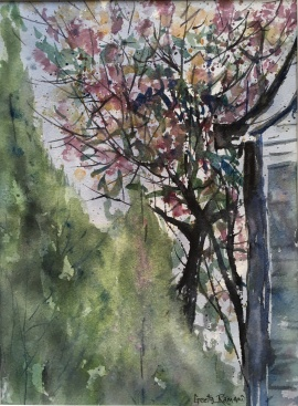 """Lilacs From Our Patio 13"""" x 9"""" – Original $100"""