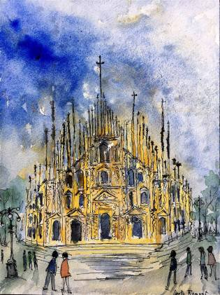"Milano Cathedral12"" x 9"" - Original $150"