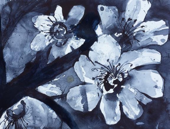"Monochrome Magnolia10"" x 14""- Original $80"