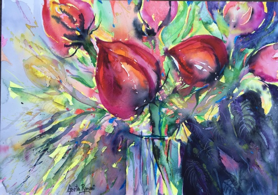 "Tulips on Fire!20"" x 14""- Original $280"