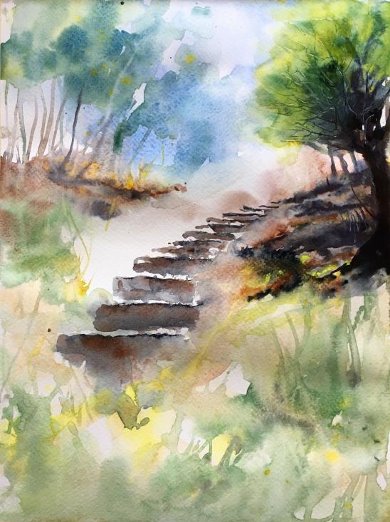 "Stairway To Heaven9"" x 12""- Original Sold"