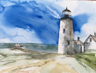 "Pemaquid Light a la Hopper12"" x 16""- Original $200"