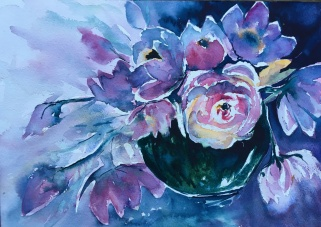 "Peonies in a bowl21"" x 14""- Original $280"