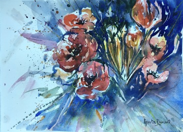 """Poppies on a cold bleak day11"""" x 14"""" - Original $200"""