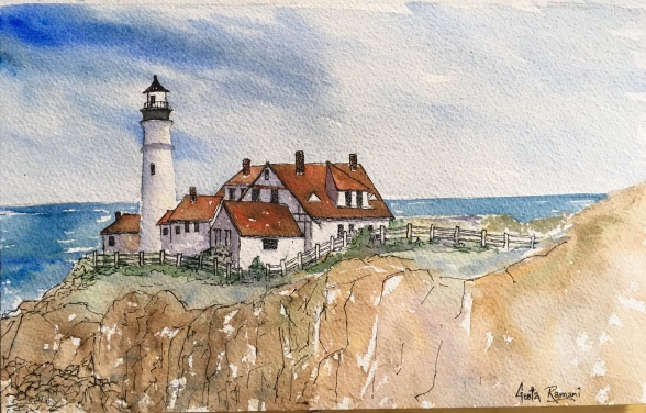 "Portland Head Light12"" x 7.5"" - Original $300"