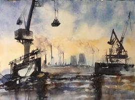 "Post Apocalyptic Industrial Wasteland12"" x 16""- Original $200"