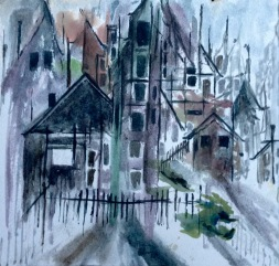 """Shapes & Shadows in the City8"""" x 8"""" - Original $75"""