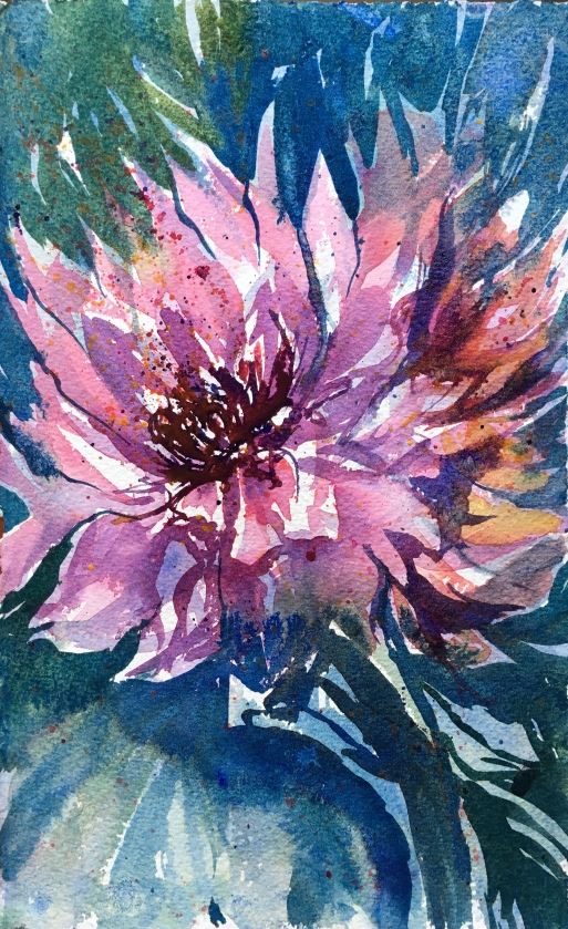 "Teresa's Dahlias 10"" x 6.5"" – Original Sold"