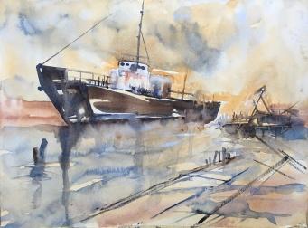"""Tugboat Graveyard14"""" x 11""""- Original $175"""
