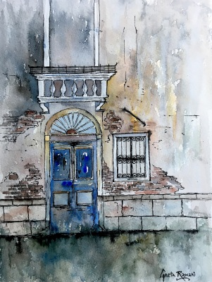 "Blue Door, Venice12"" x 9"" - Original $150"