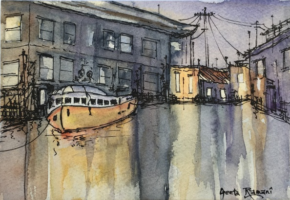 "Working Waterfront7"" x 5"" - Original $100"