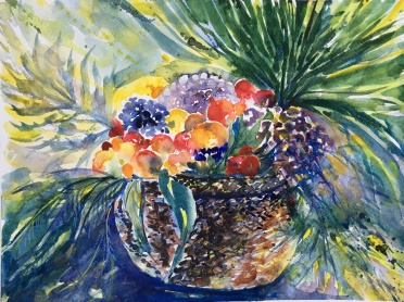 "Carravagio Style Basket Of Fruit14"" x 11""- Original $150"