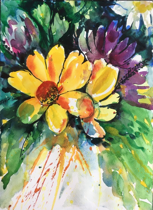 "Inna Style Spring Flowers10"" x 14""- Original $175"