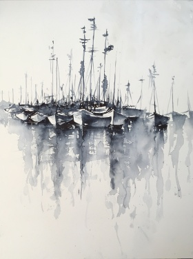 "Boats, many boats!16"" x 12""- Original $200"