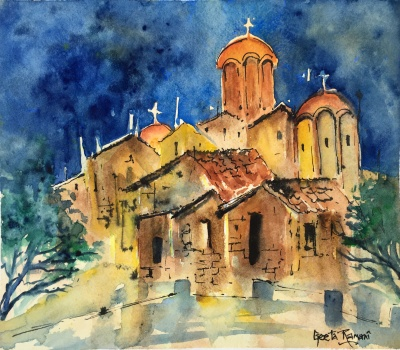 "Greek Church, Syndagma Square10"" x 9""- Original $120"