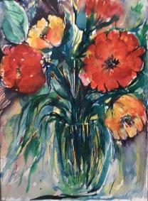 "Double Tulips14"" x 11""- Original $120"