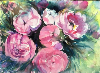 """Must be the Season of the Peonies14"""" x 10""""- Original $300-All Proceeds benefit BLM"""