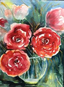 """Barbara's Roses12""""x9""""- Original Sold"""