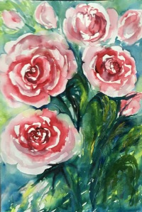 """Barbara's Roses 212""""x9""""- Original $125"""