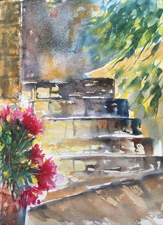 Stairway With Peonies- Original $100