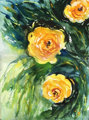 """Teresa's Roses12""""x9""""- Original Watercolour - $120"""