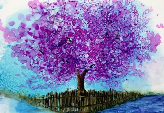 """Cherry Blossom Study7""""x5""""- Original $80"""