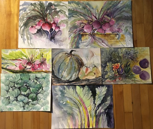 "Multiple ""Harvest"" pieces 16""x12""- Originals Package Price $600"