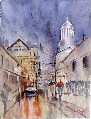 "Spring Rain in the City14""x20""- Original - 200"